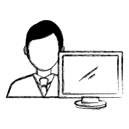 businessman with computer avatar vector illustration design Banque d'images - 111865397