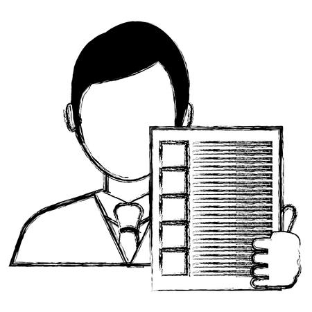 businessman avatar with financial document vector illustration