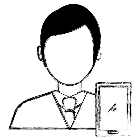 businessman with smartphone avatar character vector illustration Banque d'images - 111865424