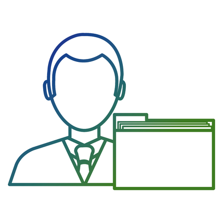 businessman avatar with folder character vector illustration design Banque d'images - 111865429