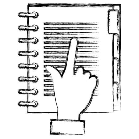 hand with notebook agend vector illustration design Ilustração Vetorial