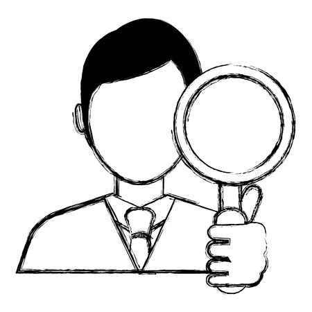 businessman with magnifying glass vector illustration design Banque d'images - 106789952