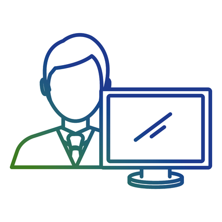 businessman with computer avatar vector illustration design Banque d'images - 111865444