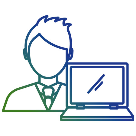 businessman with laptop avatar character vector illustration Banque d'images - 111865456