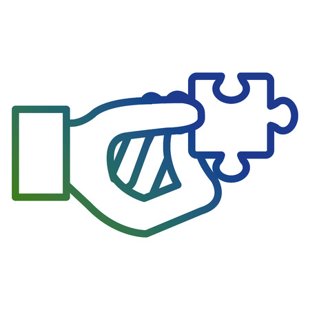 hand with puzzle game piece vector illustration design  イラスト・ベクター素材
