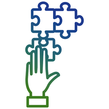 hand with puzzle game piece vector illustration design Stock Illustratie