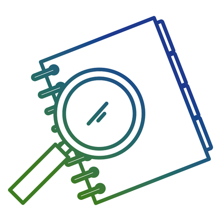 notebook agend with magnifying glass vector illustration design Vectores