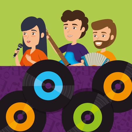 people playing instruments with vinyl disks vector illustration design Illustration