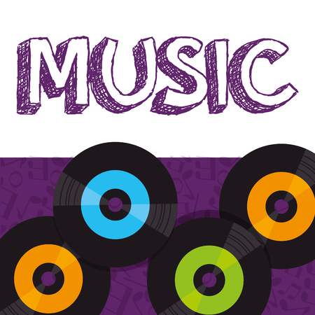vinyl disks musical poster vector illustration design