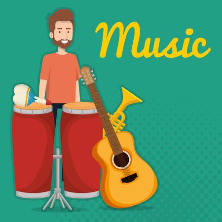 man playing bongo drum tropical instrument vector illustration design