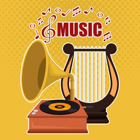 musique de harpe avec conception d'illustration vectorielle gramophone Vecteurs