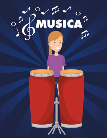 woman playing bongo drum tropical instrument vector illustration design