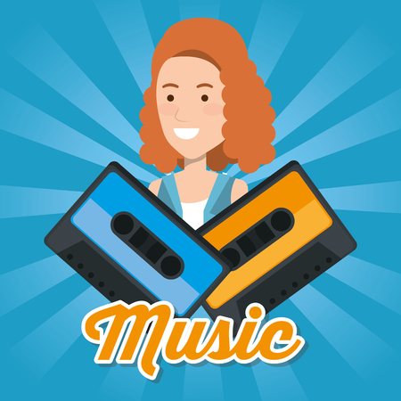 woman with cassettes music vector illustration design
