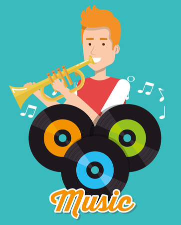 man playing trumpet with vinyl disks vector illustration design