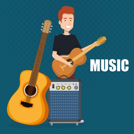man playing guitar and speaker bass vector illustration design Vetores