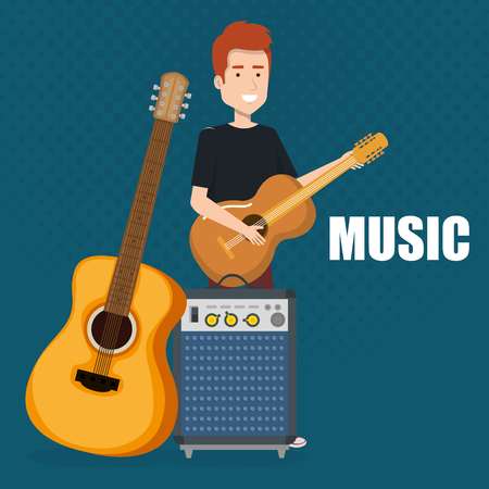 Mann spielt Gitarre und Lautsprecher Bass Vector Illustration Design Vektorgrafik