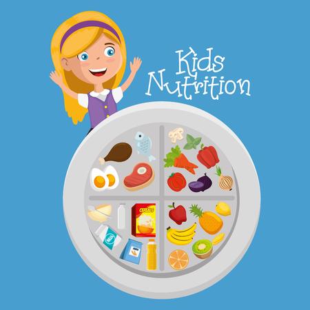 happy girl with nutrition food vector illustration design Illustration