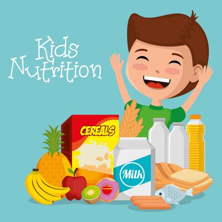 happy boy with nutrition food vector illustration design Stock Vector - 106790455
