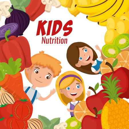 happy kids with nutrition food vector illustration design