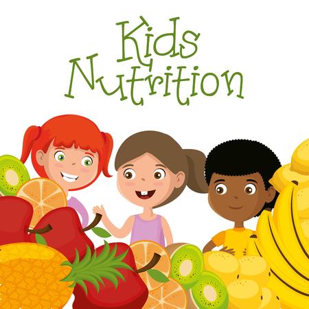 happy kids with nutrition food vector illustration design Banque d'images - 111865510
