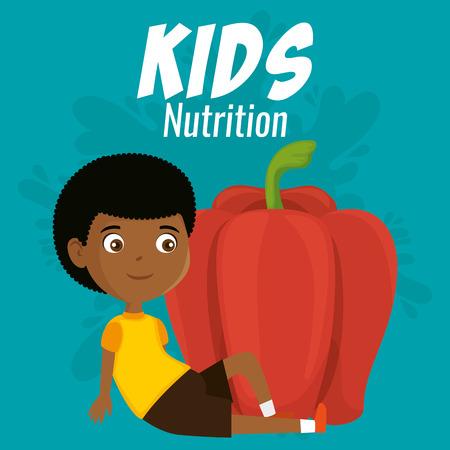 happy boy with nutrition food vector illustration design Vetores