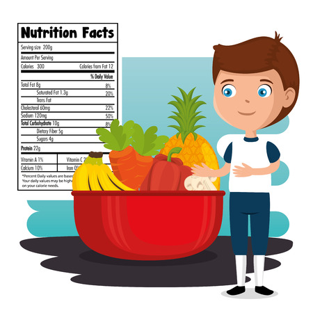 happy boy with nutrition facts vector illustration design