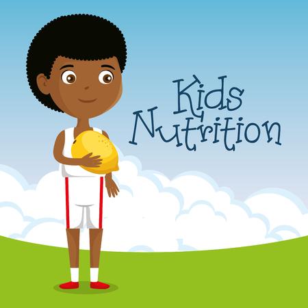 happy boy with nutrition food vector illustration design