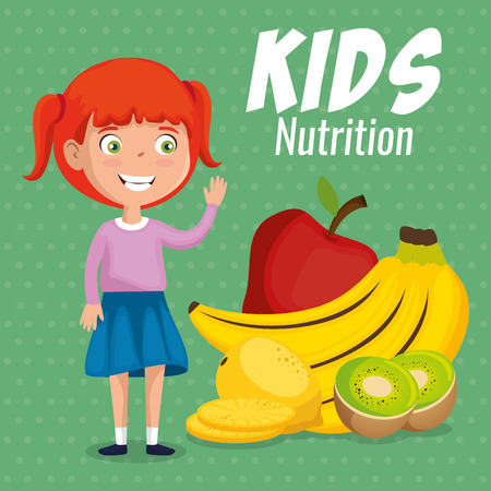 happy girl with nutrition food vector illustration design Banque d'images - 111865563
