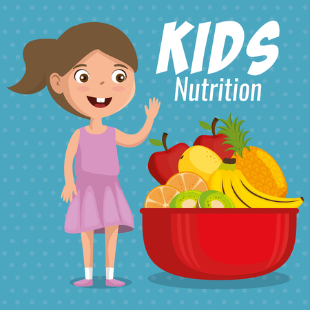 happy girl with nutrition food vector illustration design Banque d'images - 111865565