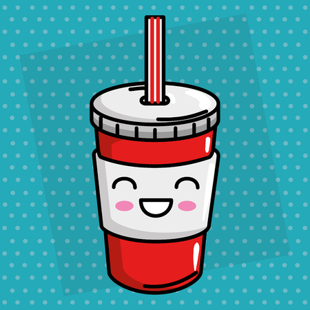 soda drink kawaii character vector illustration design