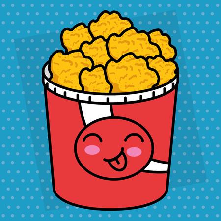 chicken nuggets pot character vector illustration design