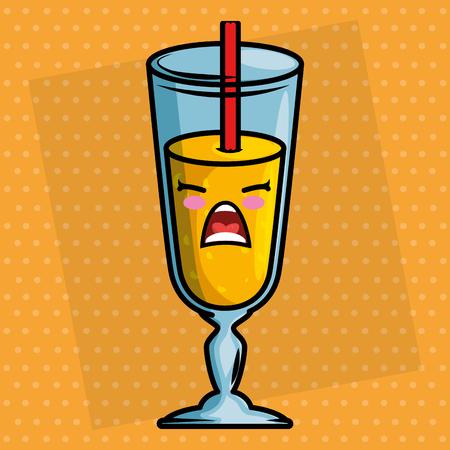 juice fruit cup kawaii character vector illustration design