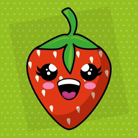 fresh strawberry kawaii character vector illustration design