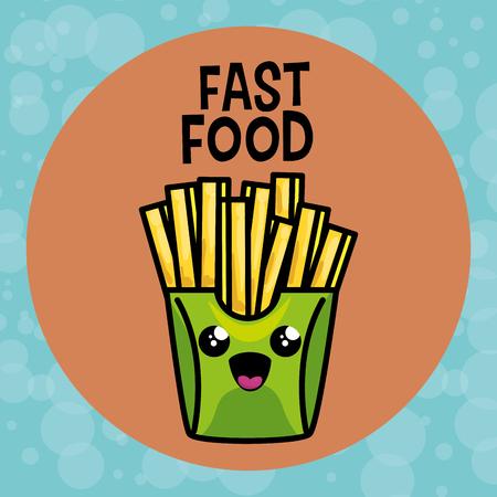 french fries kawaii character vector illustration design Illustration