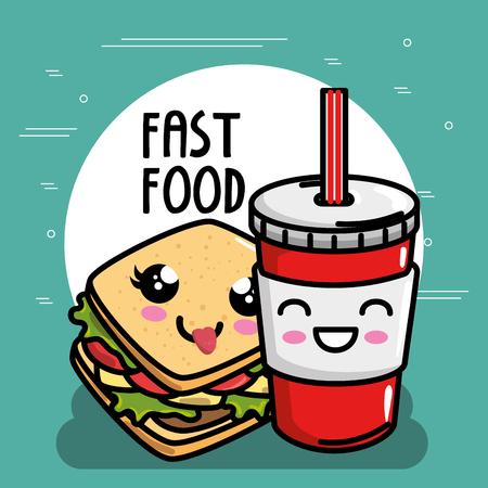 delicious sandwish with soda kawaii character vector illustration design Illustration