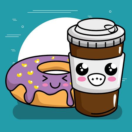 sweet donut with coffee kawaii character vector illustration design Standard-Bild - 111819867