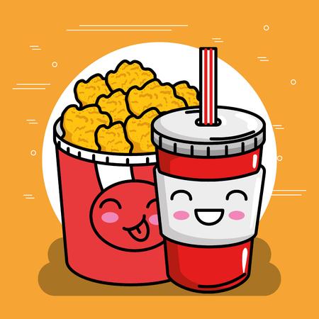 chicken nugets pot with soda kawaii character vector illustration design