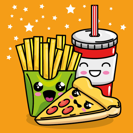 pizza and french fries with soda kawaii character vector illustration design