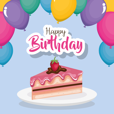 happy birthday card with cake portion vector illustration design Çizim