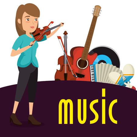 femme, jouer, violon, caractère, vecteur, illustration, conception