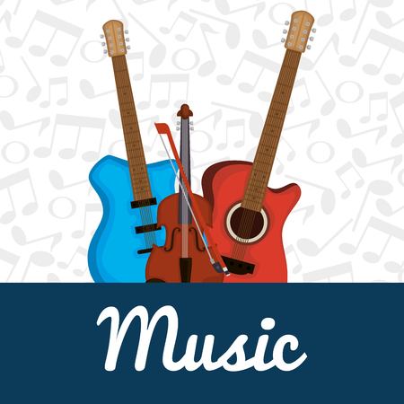 electric guitars and violin instruments vector illustration design