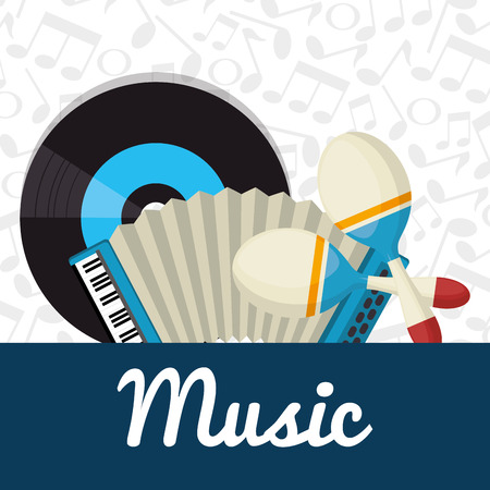 accordion with maracas and vinyl vector illustration design
