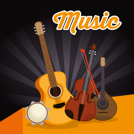 acoustic guitar with instruments vector illustration design