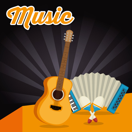 accordion with guitar and maracas vector illustration design  イラスト・ベクター素材
