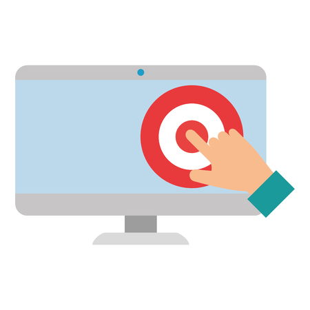 display computer with target and hand indexing vector illustration design  イラスト・ベクター素材