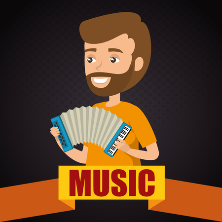 man playing accordion character vector illustration design  イラスト・ベクター素材
