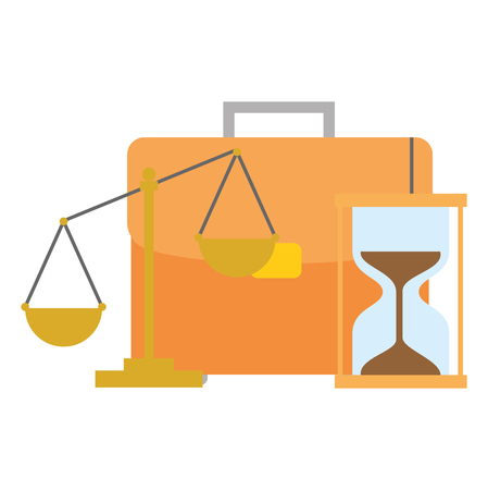 portfolio briefcase with balance and hourglass vector illustration design