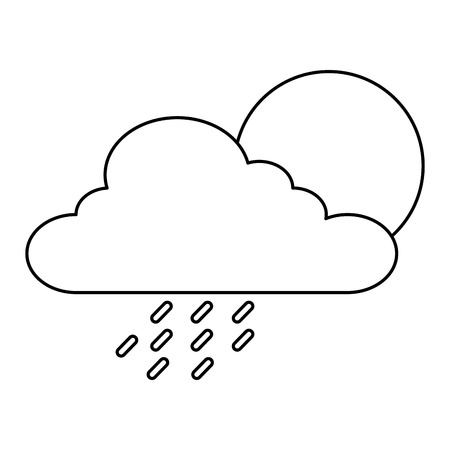 summer sun with clouds and rain drops vector illustration design
