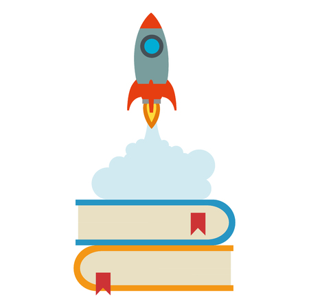 rocket start up with books vector illustration design 向量圖像