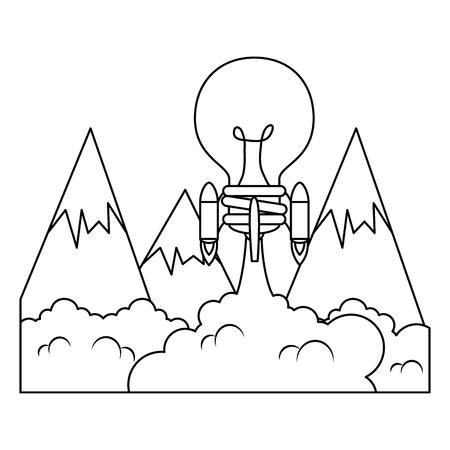 bulb rocket launcher with smoke vector illustration design Ilustração